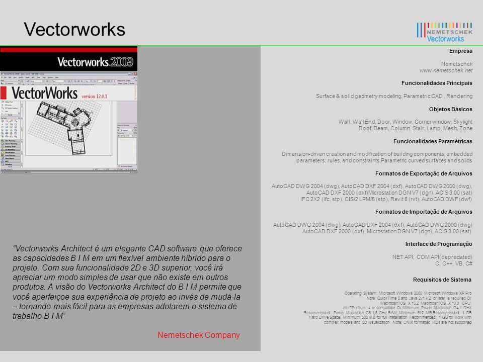 Vectorworks Empresa. Nemetschek www.nemetschek.net. Funcionalidades Principais. Surface & solid geometry modeling, Parametric CAD , Rendering.