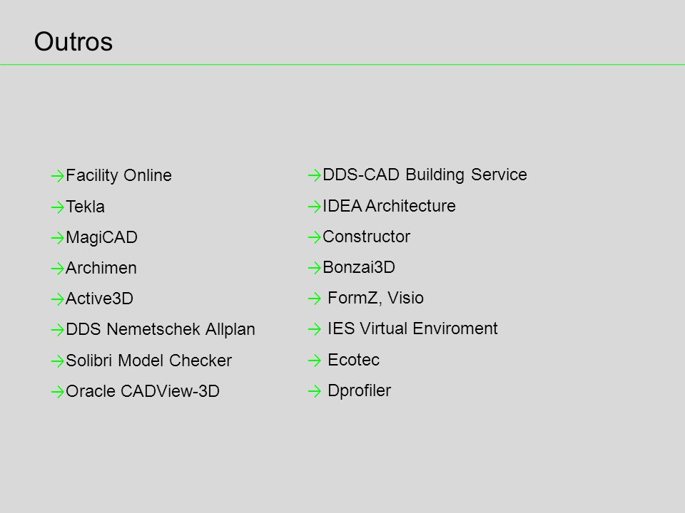 Outros Facility Online DDS-CAD Building Service Tekla