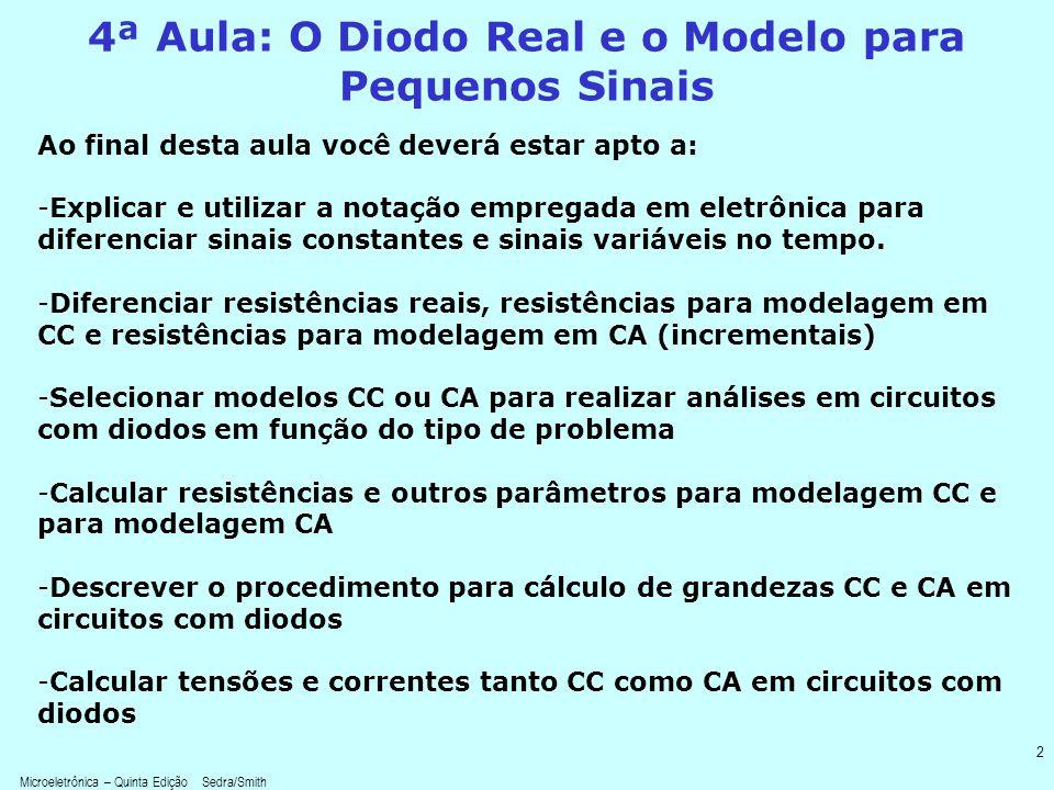 4ª Aula: O Diodo Real e o Modelo para Pequenos Sinais