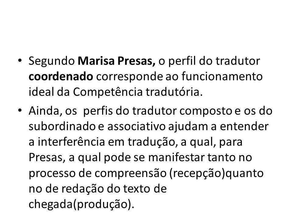 Segundo Marisa Presas, o perfil do tradutor coordenado corresponde ao funcionamento ideal da Competência tradutória.