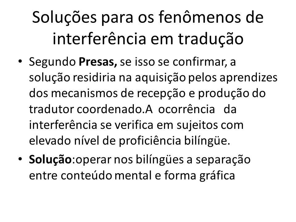 Soluções para os fenômenos de interferência em tradução