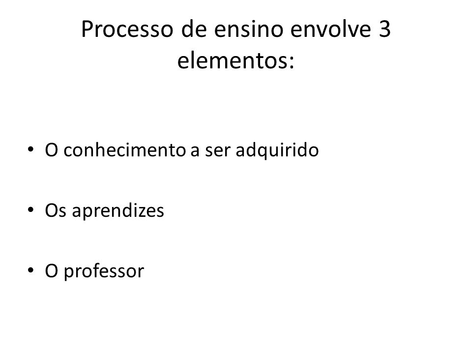 Processo de ensino envolve 3 elementos: