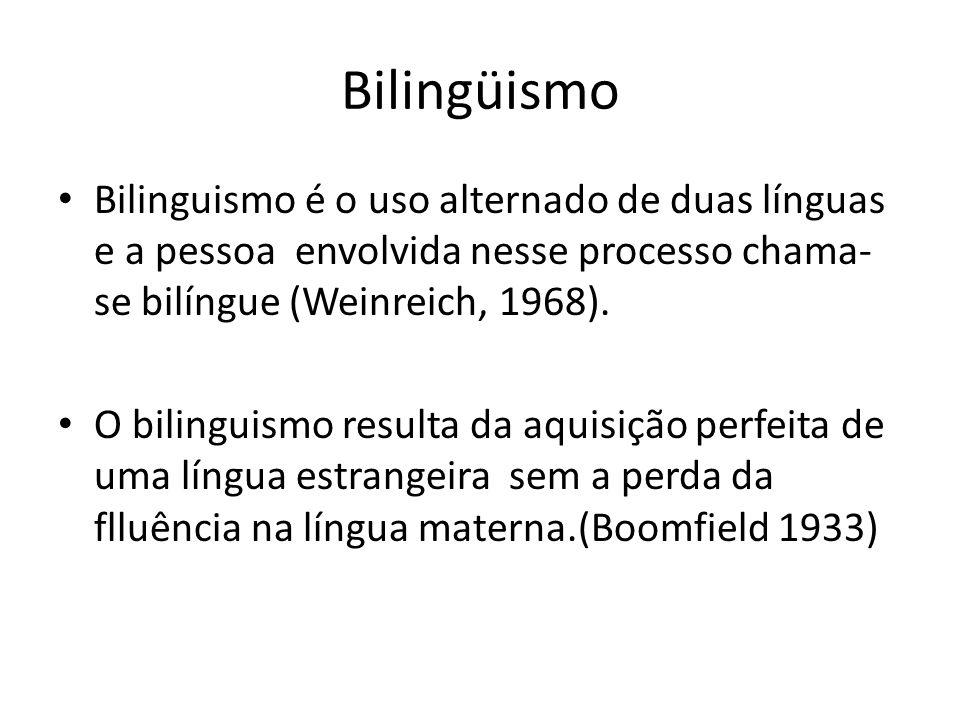 Bilingüismo Bilinguismo é o uso alternado de duas línguas e a pessoa envolvida nesse processo chama-se bilíngue (Weinreich, 1968).