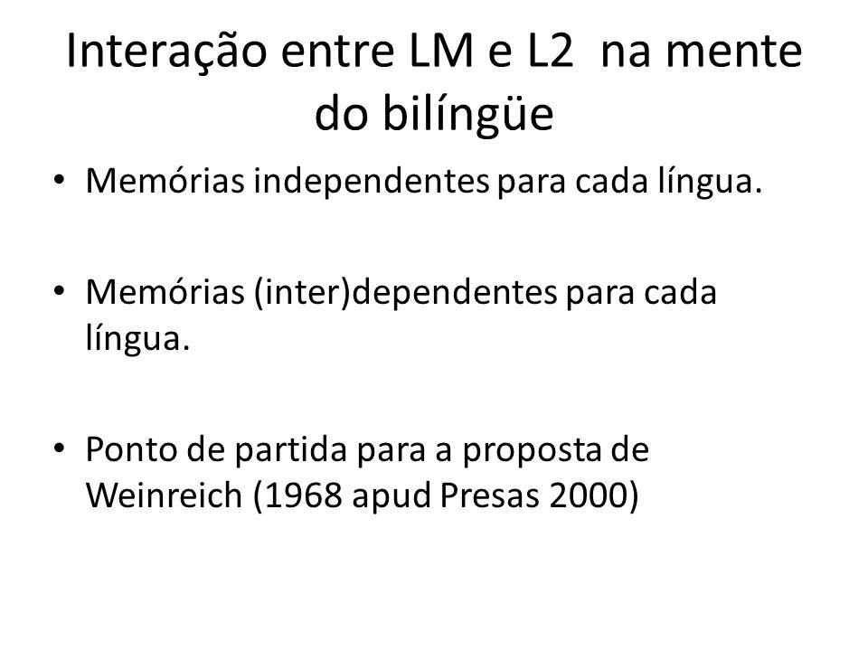 Interação entre LM e L2 na mente do bilíngüe
