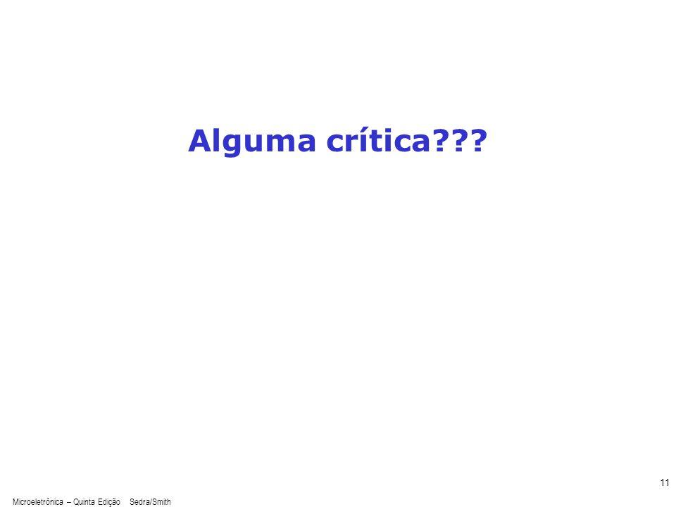 Alguma crítica Microeletrônica – Quinta Edição Sedra/Smith