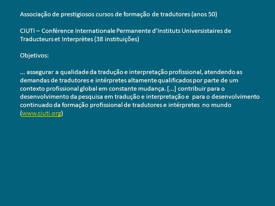 Associação de prestigiosos cursos de formação de tradutores (anos 50)