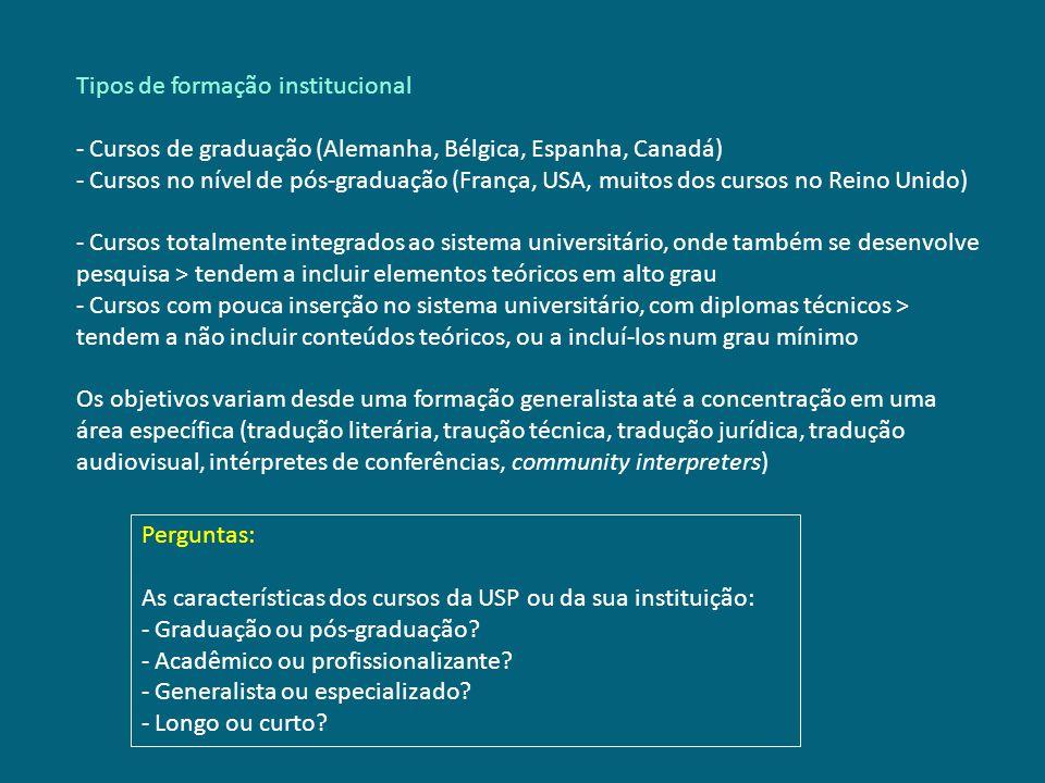 Tipos de formação institucional