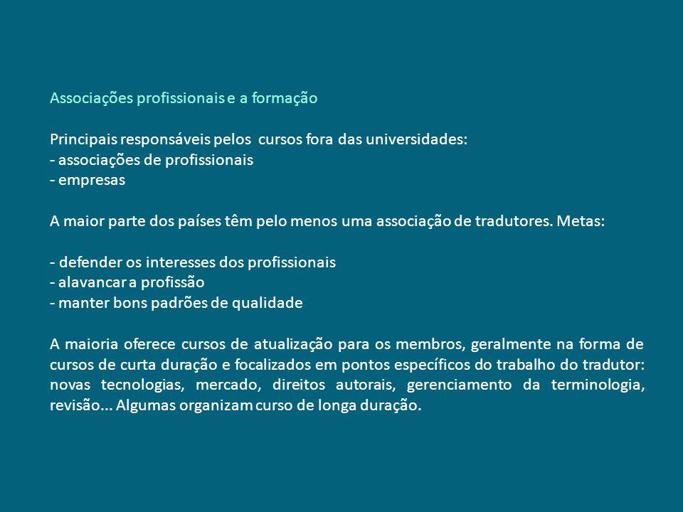 Associações profissionais e a formação