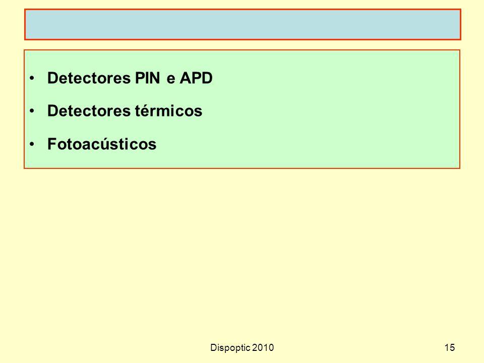 Detectores PIN e APD Detectores térmicos Fotoacústicos Dispoptic 2010