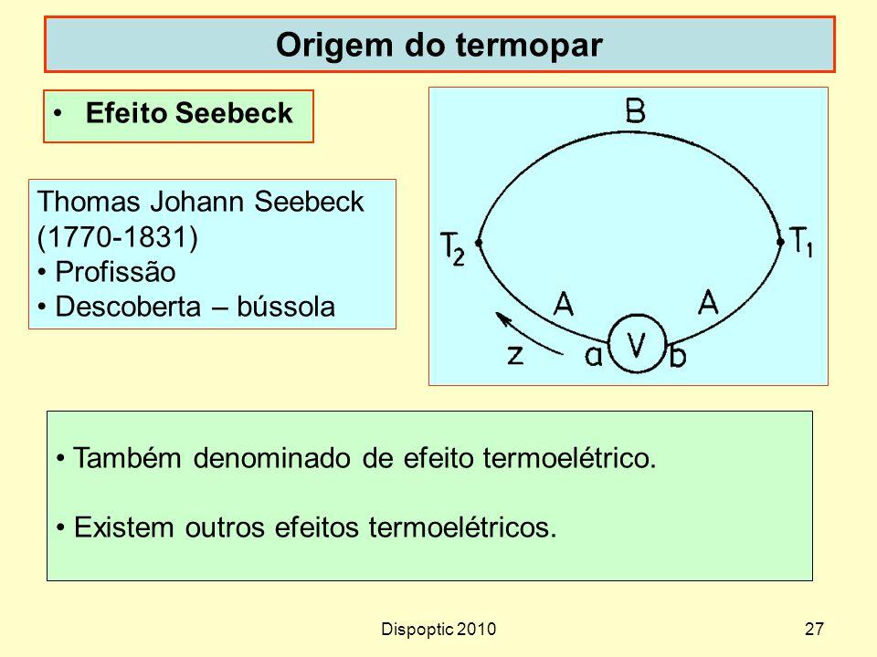 Origem do termopar Efeito Seebeck Thomas Johann Seebeck (1770-1831)