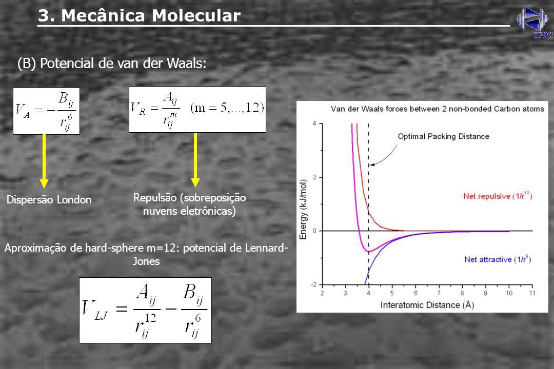 3. Mecânica Molecular (B) Potencial de van der Waals: