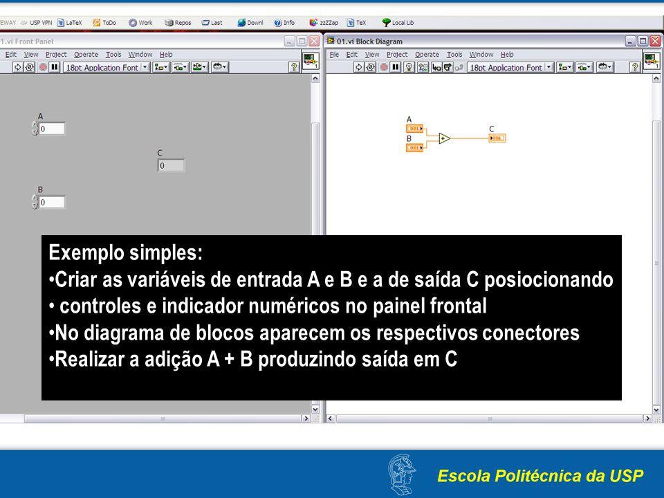 Exemplo simples: Criar as variáveis de entrada A e B e a de saída C posiocionando. controles e indicador numéricos no painel frontal.
