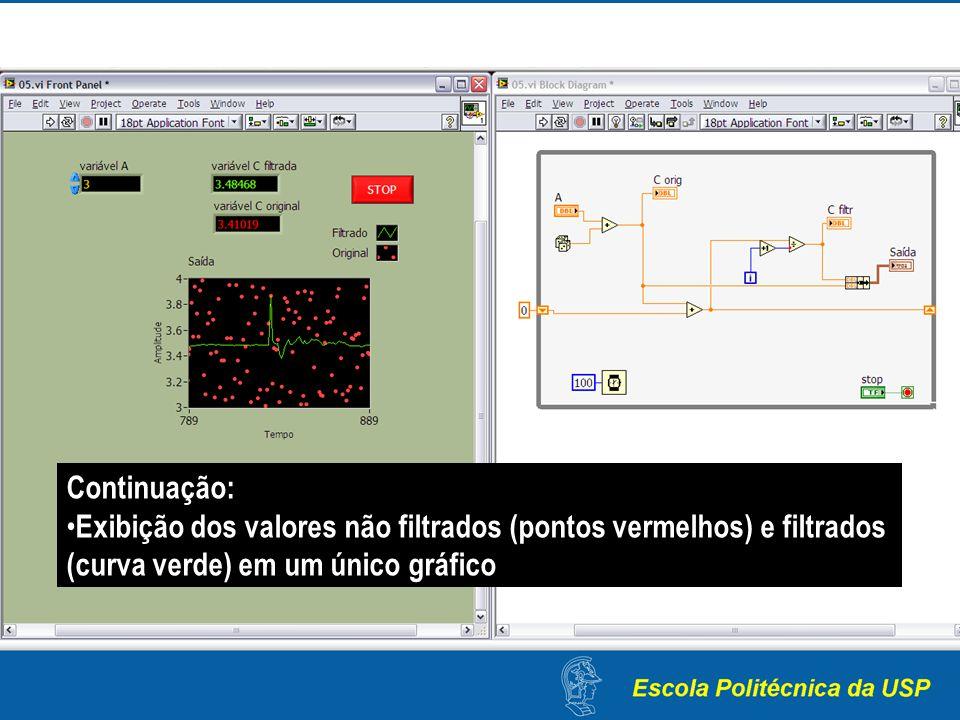 Continuação: Exibição dos valores não filtrados (pontos vermelhos) e filtrados (curva verde) em um único gráfico.