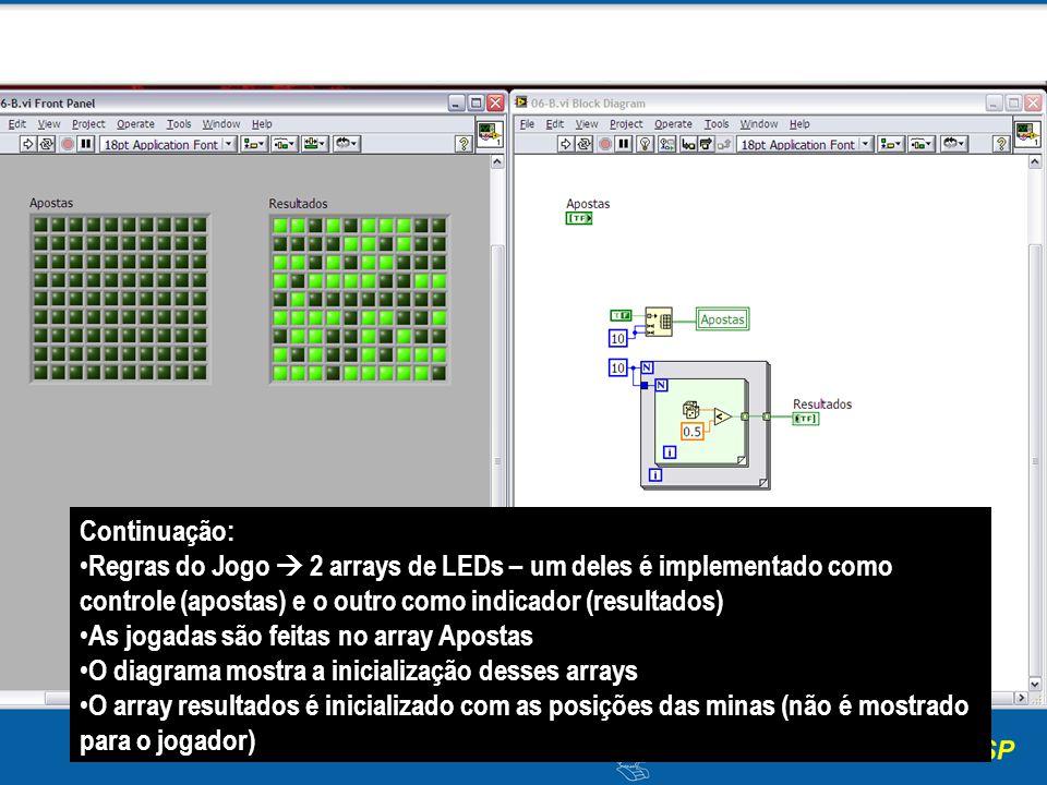 Continuação: Regras do Jogo  2 arrays de LEDs – um deles é implementado como controle (apostas) e o outro como indicador (resultados)