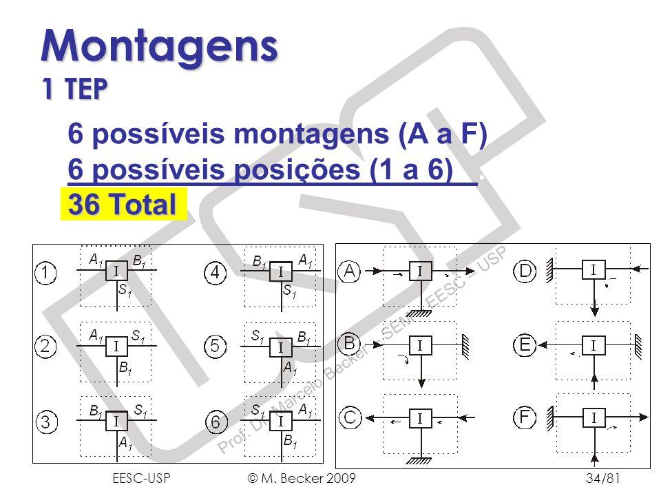 Montagens 1 TEP 6 possíveis montagens (A a F) 6 possíveis posições (1 a 6) .