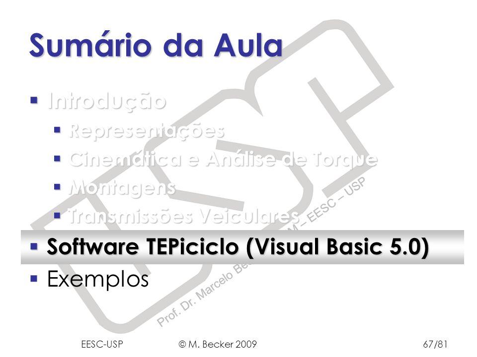 Sumário da Aula Introdução Software TEPiciclo (Visual Basic 5.0)
