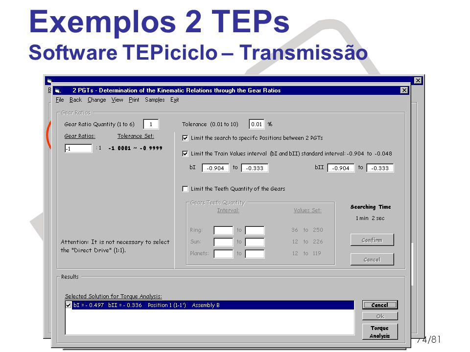 Exemplos 2 TEPs Software TEPiciclo – Transmissão Pentium III 650 MHz