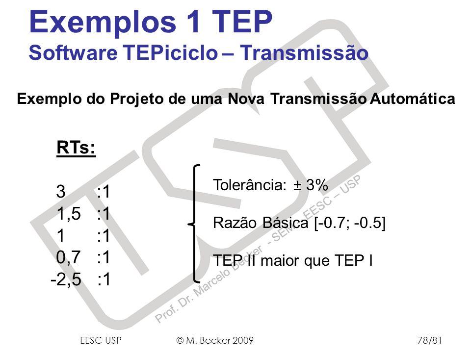 Exemplos 1 TEP Software TEPiciclo – Transmissão RTs: 3 :1 1,5 :1 1 :1
