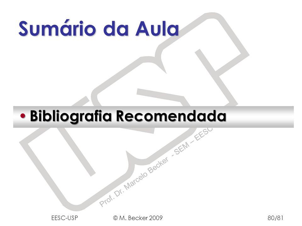 Sumário da Aula Bibliografia Recomendada EESC-USP © M. Becker 2009