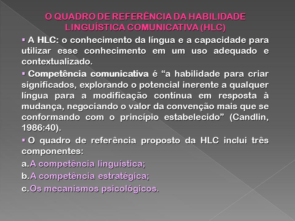 O QUADRO DE REFERÊNCIA DA HABILIDADE LINGUÍSTICA COMUNICATIVA (HLC)