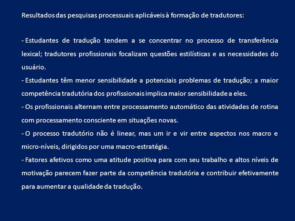 Resultados das pesquisas processuais aplicáveis à formação de tradutores: