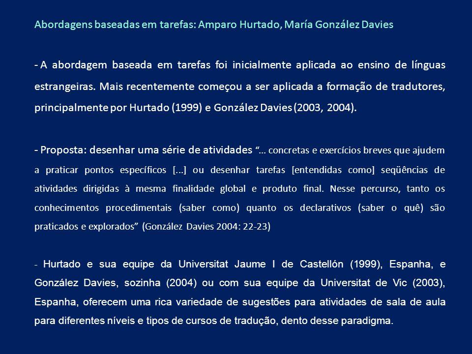 Abordagens baseadas em tarefas: Amparo Hurtado, María González Davies