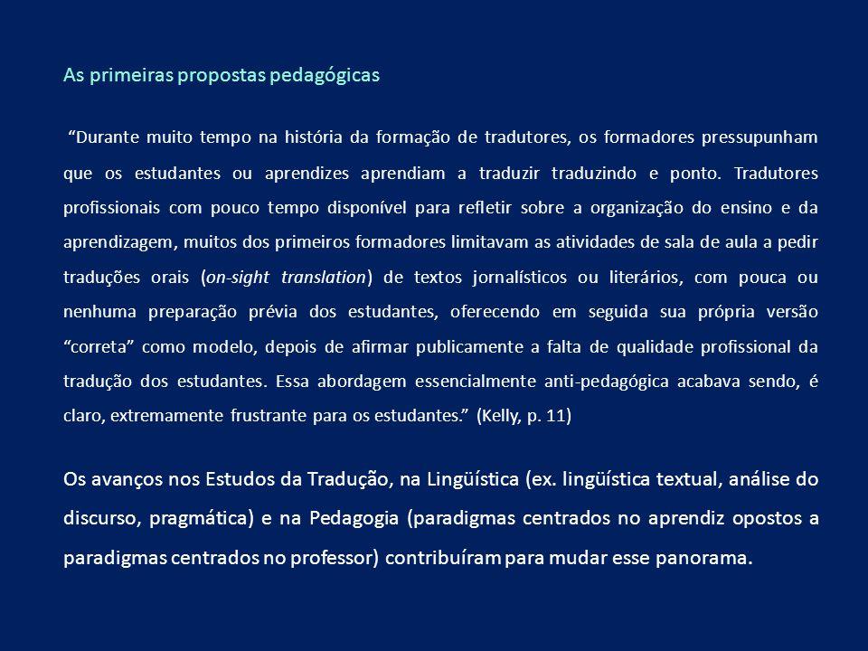 As primeiras propostas pedagógicas