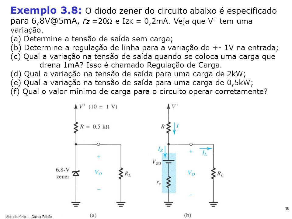 Exemplo 3.8: O diodo zener do circuito abaixo é especificado para 6,8V@5mA, rz =20W e IZK = 0,2mA. Veja que V+ tem uma variação.
