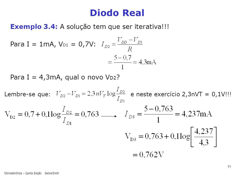 Diodo Real Exemplo 3.4: A solução tem que ser iterativa!!!