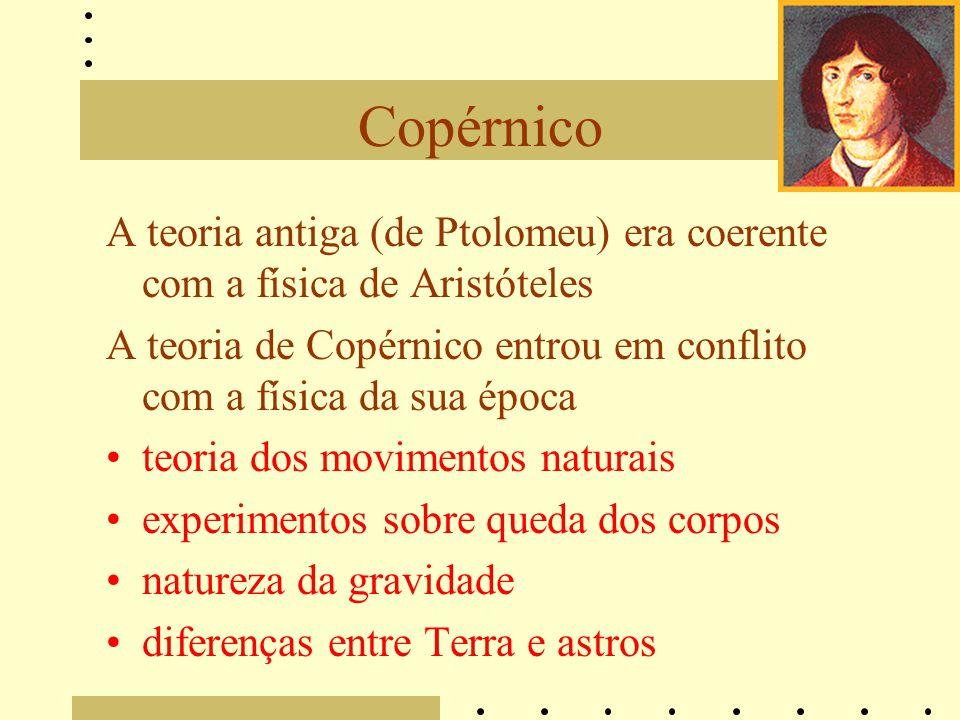 Copérnico A teoria antiga (de Ptolomeu) era coerente com a física de Aristóteles. A teoria de Copérnico entrou em conflito com a física da sua época.