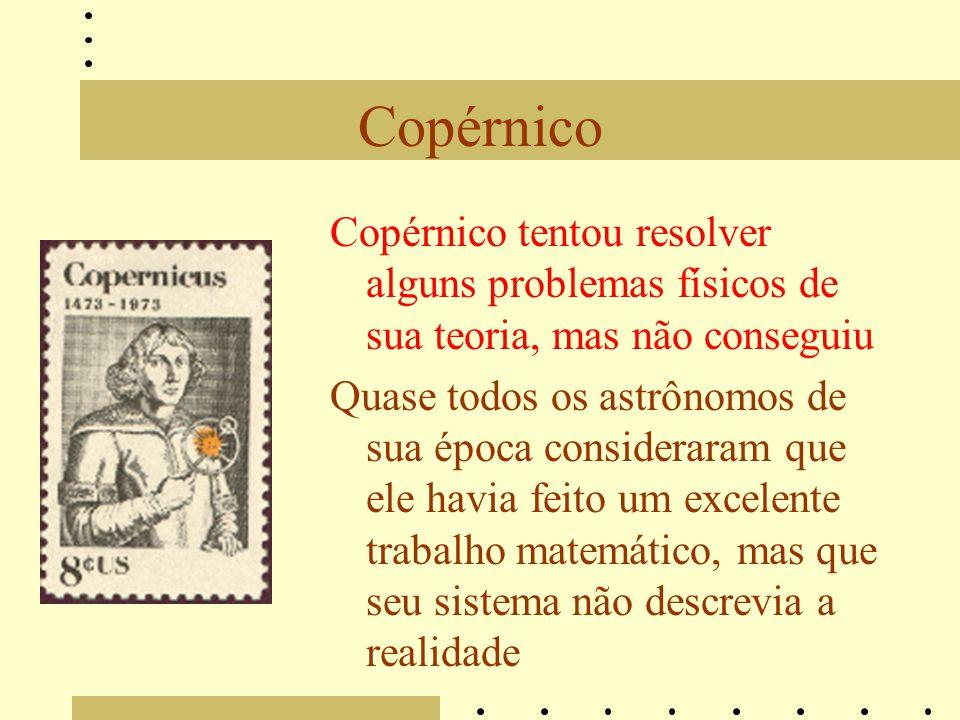 Copérnico Copérnico tentou resolver alguns problemas físicos de sua teoria, mas não conseguiu.