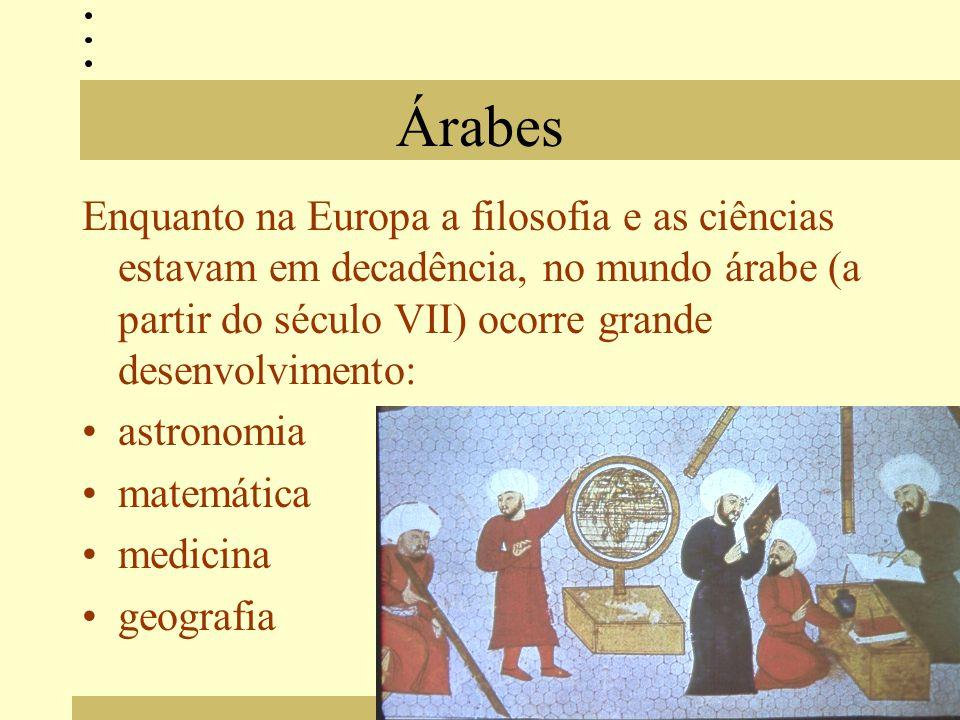 Árabes Enquanto na Europa a filosofia e as ciências estavam em decadência, no mundo árabe (a partir do século VII) ocorre grande desenvolvimento: