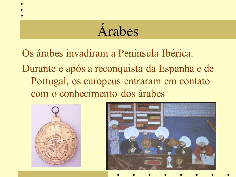 Árabes Os árabes invadiram a Península Ibérica.