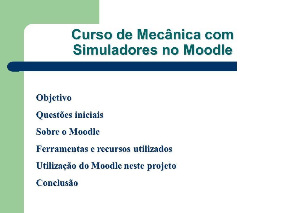 Curso de Mecânica com Simuladores no Moodle