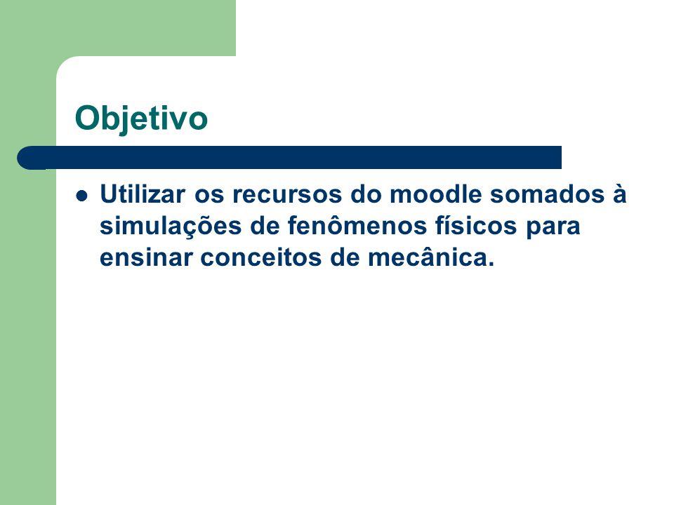 Objetivo Utilizar os recursos do moodle somados à simulações de fenômenos físicos para ensinar conceitos de mecânica.