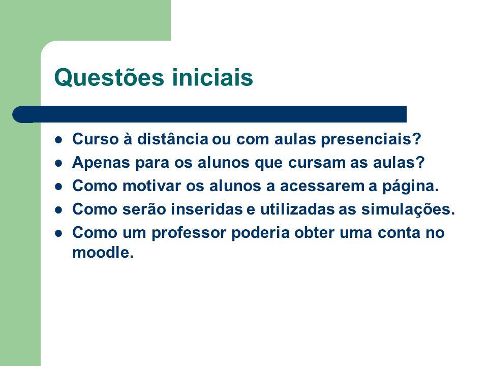 Questões iniciais Curso à distância ou com aulas presenciais