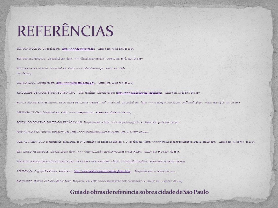 Guia de obras de referência sobre a cidade de São Paulo