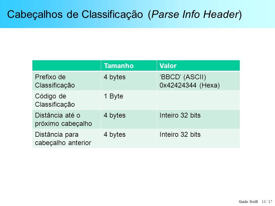 Cabeçalhos de Classificação (Parse Info Header)