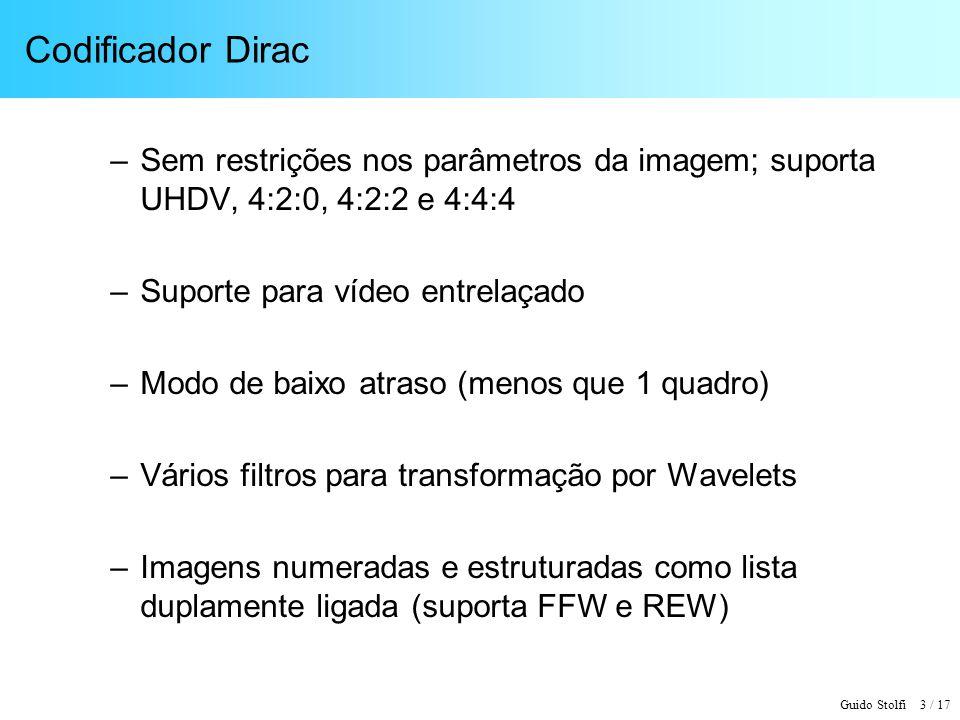 Codificador Dirac Sem restrições nos parâmetros da imagem; suporta UHDV, 4:2:0, 4:2:2 e 4:4:4. Suporte para vídeo entrelaçado.