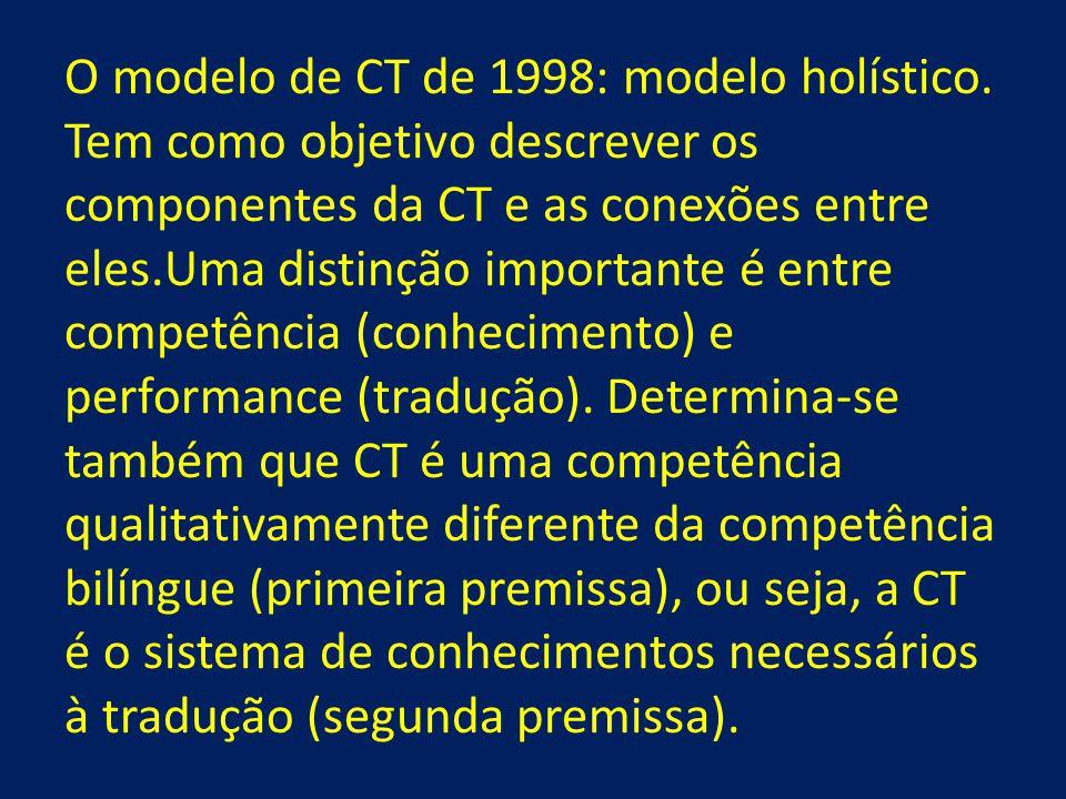 O modelo de CT de 1998: modelo holístico