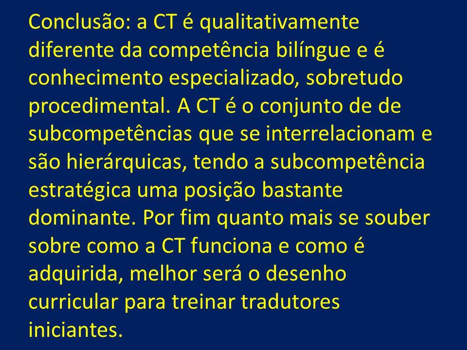 Conclusão: a CT é qualitativamente diferente da competência bilíngue e é conhecimento especializado, sobretudo procedimental.