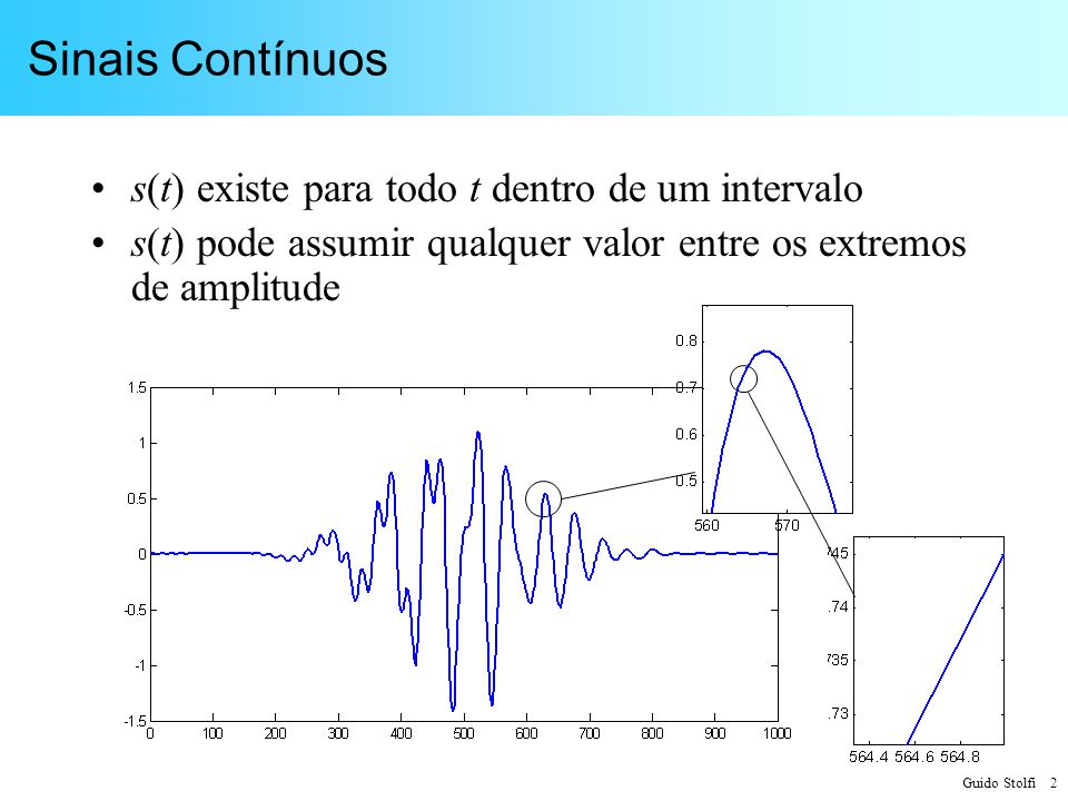 Sinais Contínuos s(t) existe para todo t dentro de um intervalo