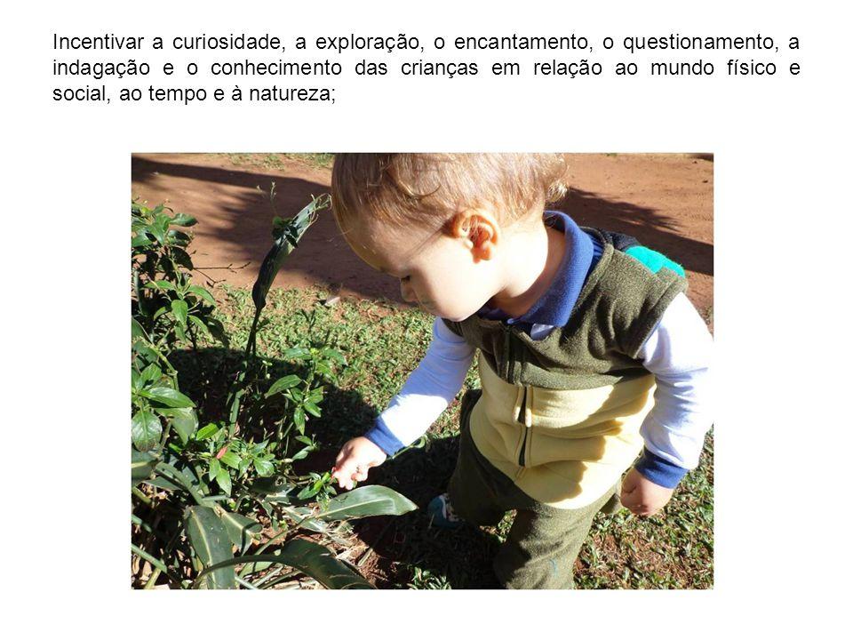 Incentivar a curiosidade, a exploração, o encantamento, o questionamento, a indagação e o conhecimento das crianças em relação ao mundo físico e social, ao tempo e à natureza;