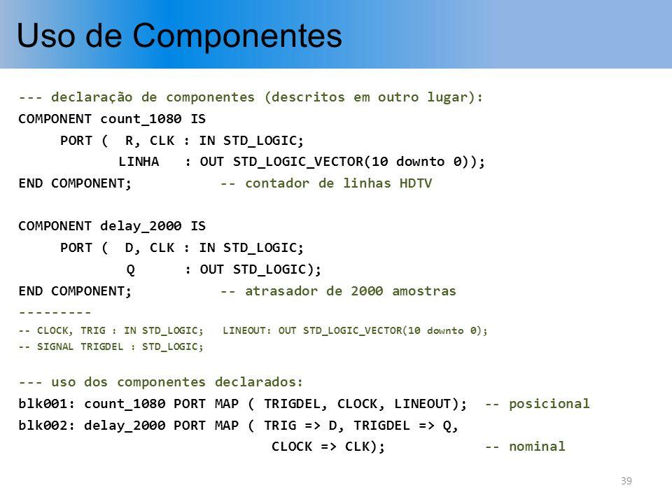 Uso de Componentes --- declaração de componentes (descritos em outro lugar): COMPONENT count_1080 IS.