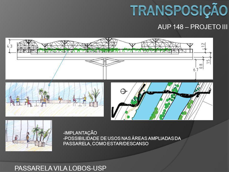 transposição AUP 148 – PROJETO III PASSARELA VILA LOBOS-USP