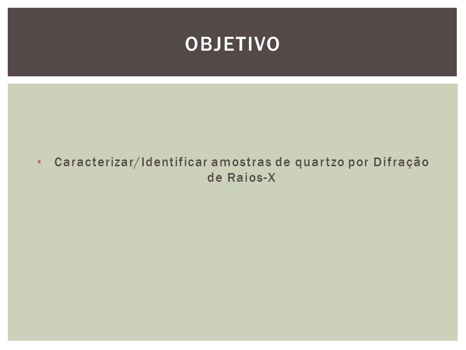 Caracterizar/Identificar amostras de quartzo por Difração de Raios-X