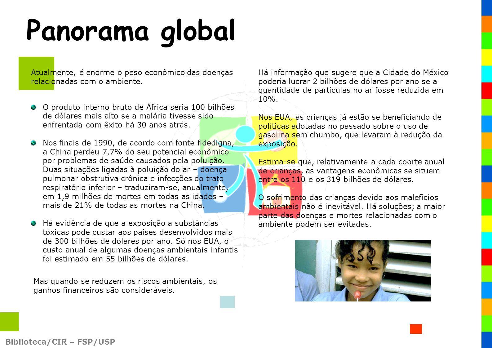 Panorama global Atualmente, é enorme o peso econômico das doenças relacionadas com o ambiente.