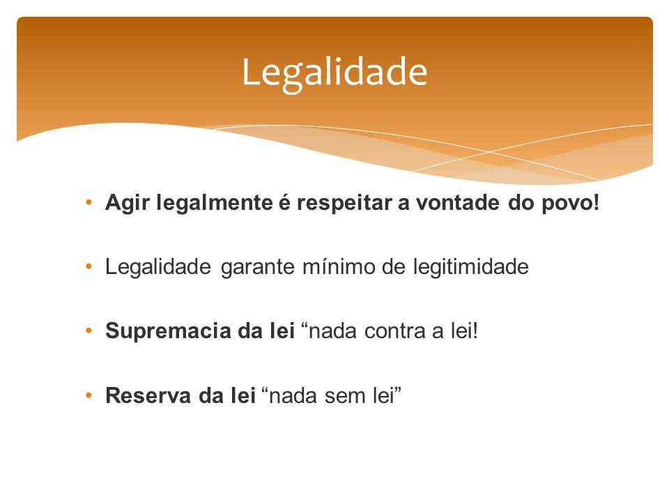 Legalidade Agir legalmente é respeitar a vontade do povo!