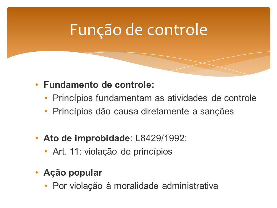 Função de controle Fundamento de controle:
