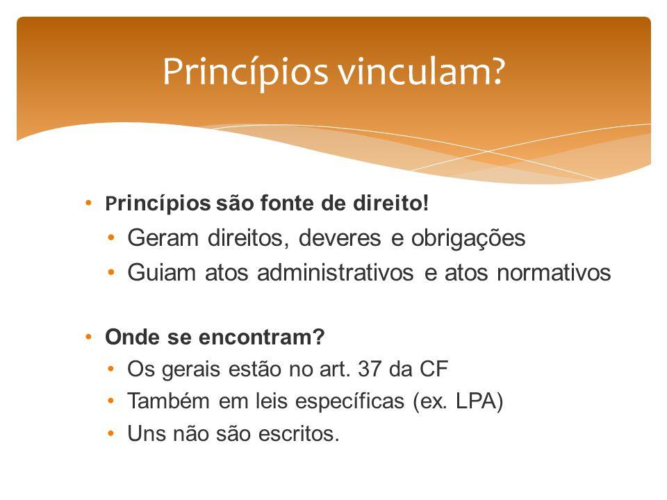 Princípios vinculam Geram direitos, deveres e obrigações